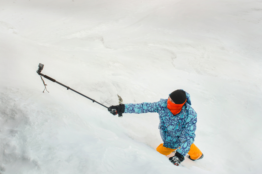 action camera in the snow