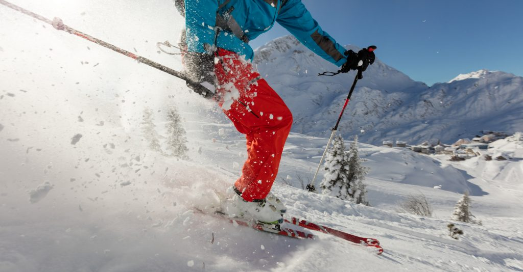 Man skiing in the powder