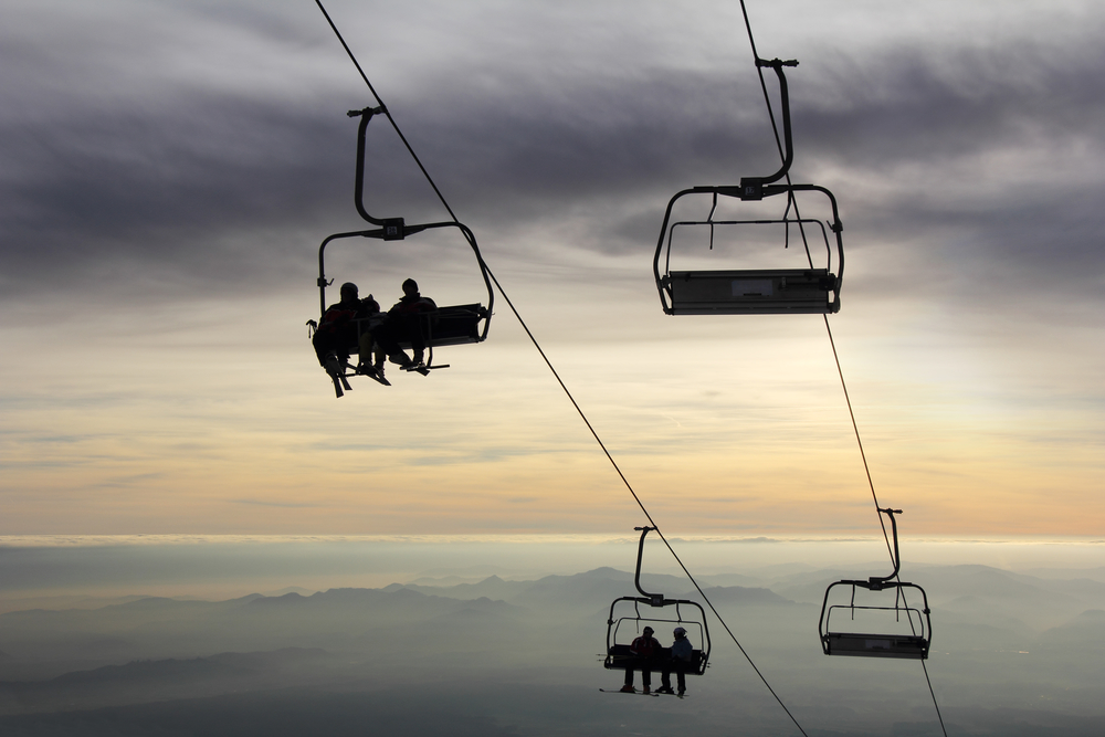 Ski lifts in the evening