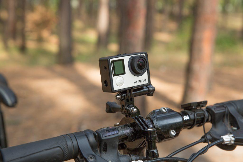 Gopro camera on the handlebars of the bike